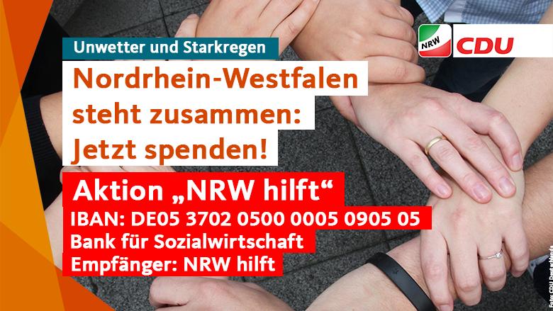 Nordrhein-Westfalen steht zusammen. Nordrhein-Westfalen hilft zusammen. Jetzt spenden!