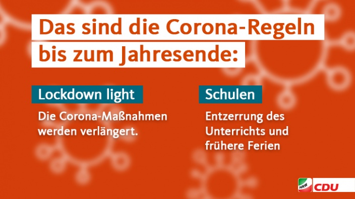 Corona-Maßnahmen bis zum Jahreswechseln I